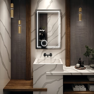 Bathroom vanity with white with gray veining marble look quartz sink, countertop, and backsplash with metallic look slab wall and natural wood accents.