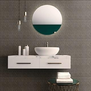 Floating bathroom vanity with white marble countertop, vessel sink, gray mini-picket mosaic tile backsplash, pendant lights, and round mirror.