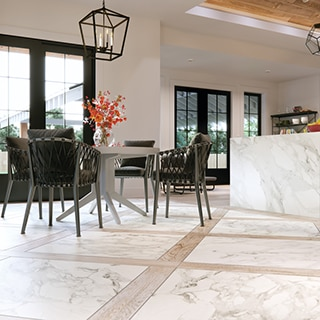 Modern farmhouse kitchen with 36x36 marble look tile and 6x48 wood look tile planks in a checkered diamond pattern, marble look porcelain waterfall island with wood cabinets.