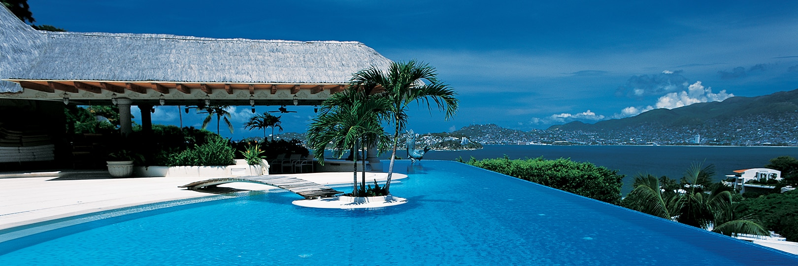 Infinity pool with white and blue tile, wood bridge to swim-up island with palm trees, patio with thatched roof, ocean view with mountains in the background.