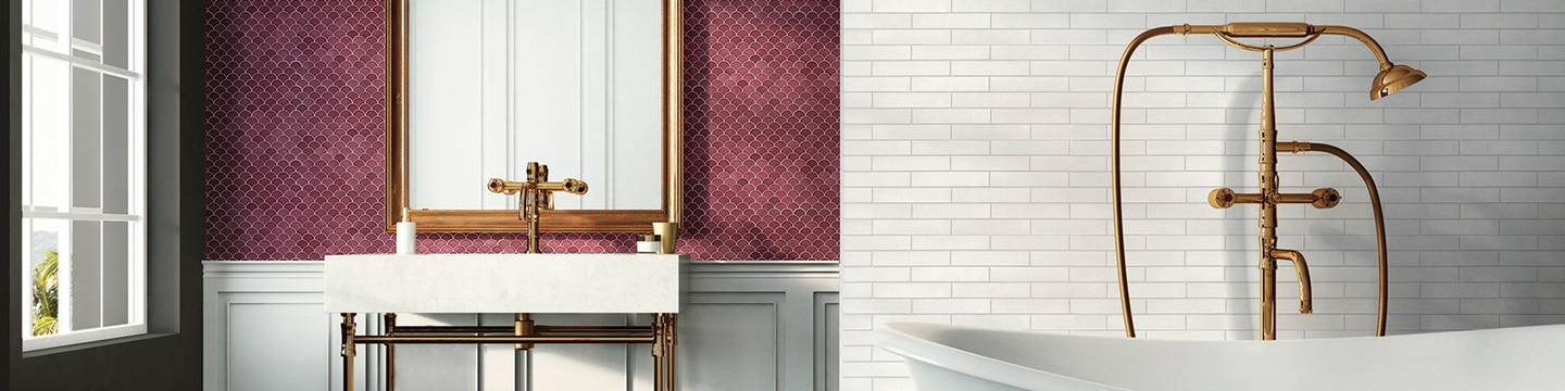 Bathroom with white subway tile behind soaker tub with copper faucet, cranberry fan mosaic tile behind vanity with copper faucet and pipe legs.