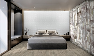 Bedroom with tile that looks like wood flooring, platform bed, white textured wall tile, gray, white & yellow porcelain slab wall tile.