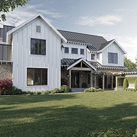 Exterior of the white modern farmhouse-style virtual house from the front.