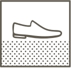 StepWise slip resistance. Line art of shoe on dotted floor.