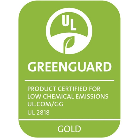 GreenGuard Gold: Product certified for low chemical emissions UL.com/GG UL 2818