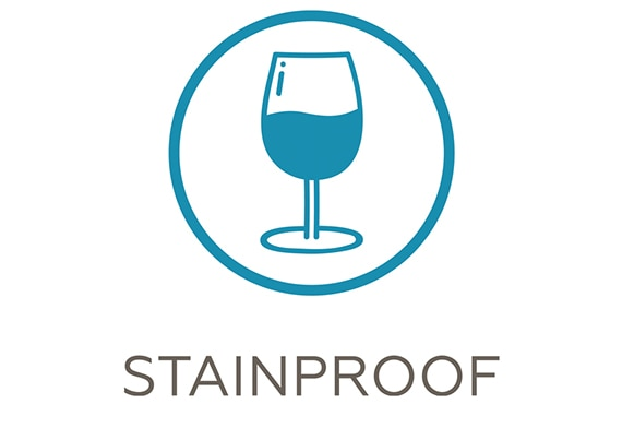 Stain resistant tile icon depicting illustration of a full glass of wine.