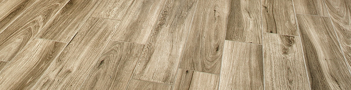 Close up of highly varied color wood-look tile.