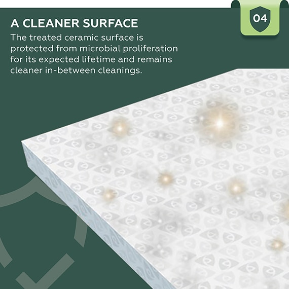 A Cleaner Surface. The treated ceramic surface is protected from microbial proliferation for its expected lifetime and remains cleaner in-between cleanings.
