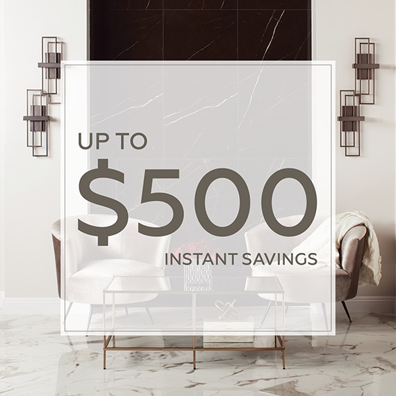 Daltile coupon for up to $500 in instant savings on products at participating Daltile Premier Dealers