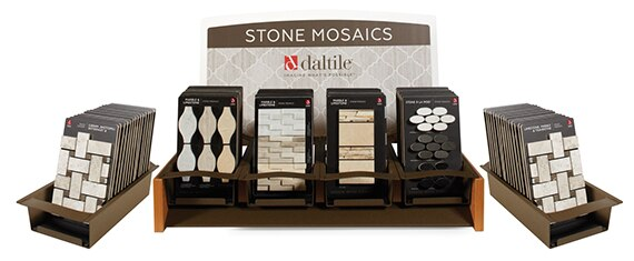 Daltile Stone Mosaics tabletop display featuring mosaic tile samples