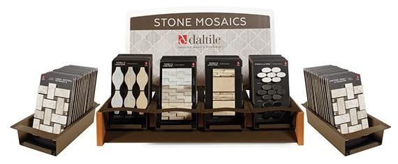 Daltile Stone Mosaics tabletop display featuring mosaic tile samples
