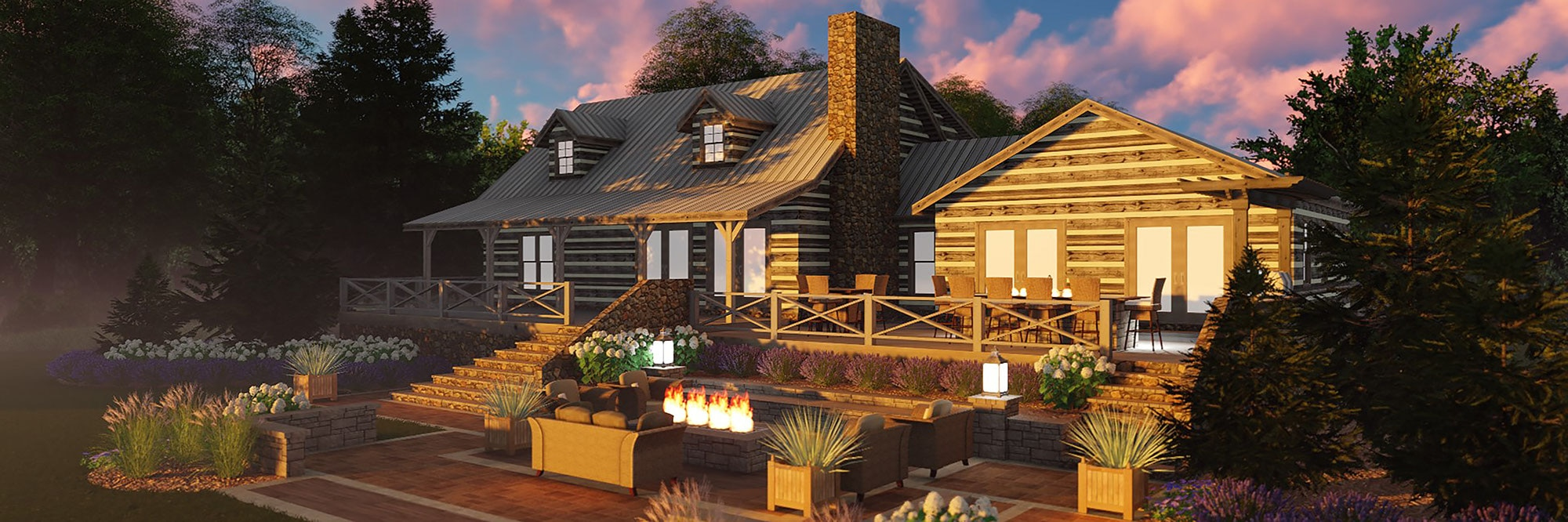 Modern log house with wood deck, large planter boxes, wooden stairs leading to lawn with seating around a firepit.