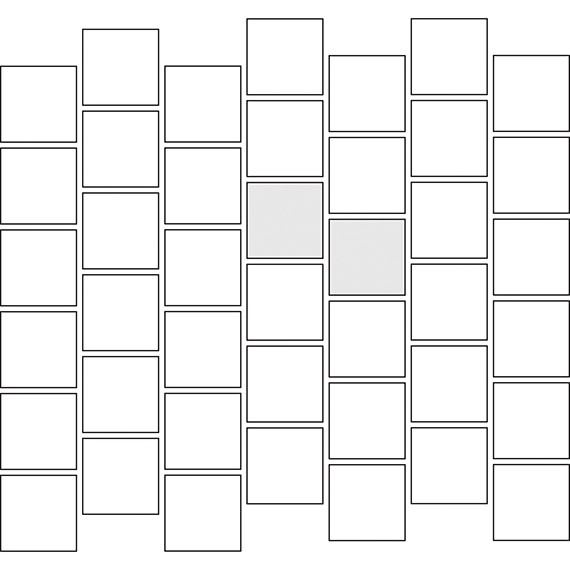Vertical brick pattern guide for square tile