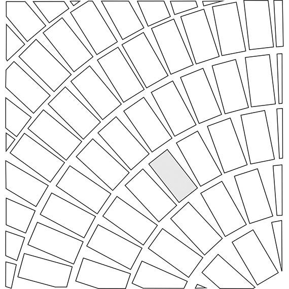 Circular pattern guide for rectangular tile