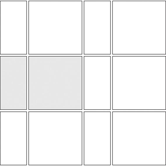 Alternating tile pattern guide for two tile sizes