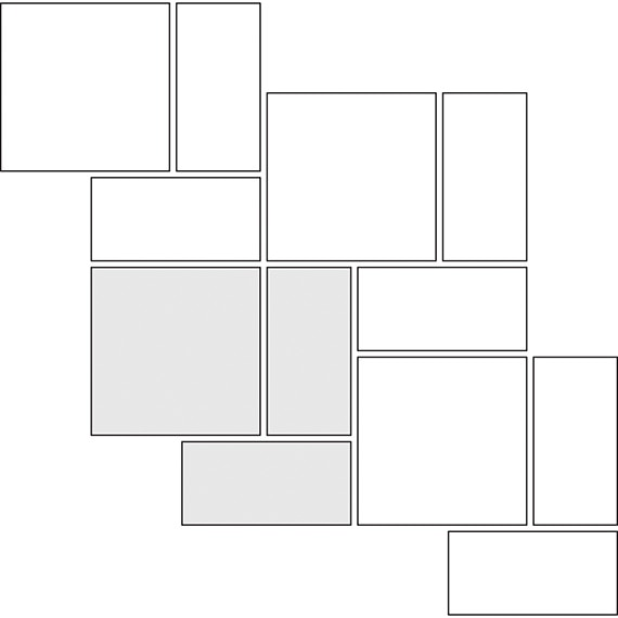 Basket weave tile pattern guide for two tile sizes