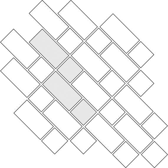 Diagonal lacework tile pattern for two tile sizes