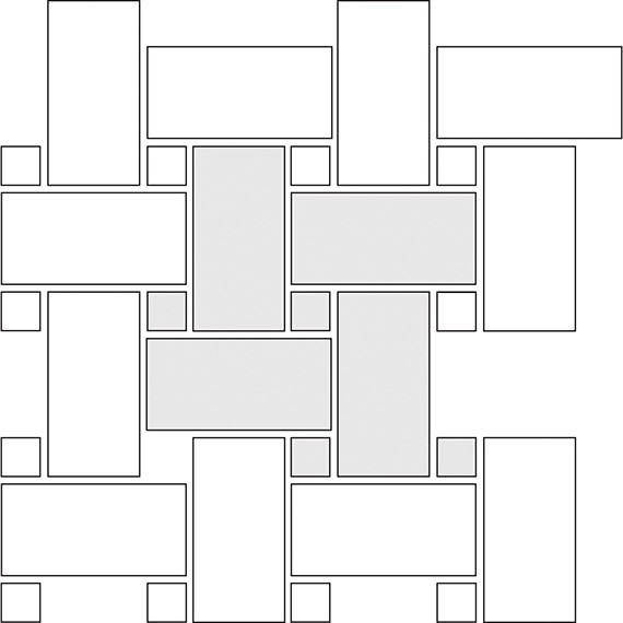 Large basket weave tile pattern guide for two tile sizes