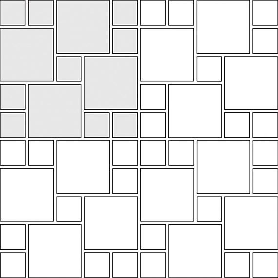 Multi-Pinwheel tile pattern guide for two tile sizes