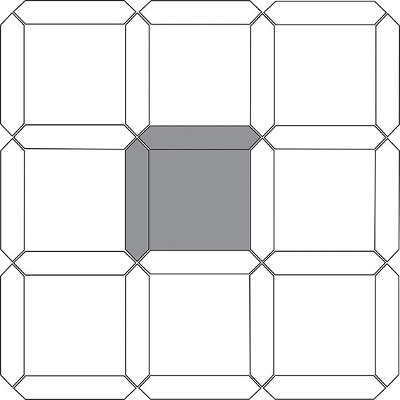 Block and picket tile pattern guide for two tile sizes
