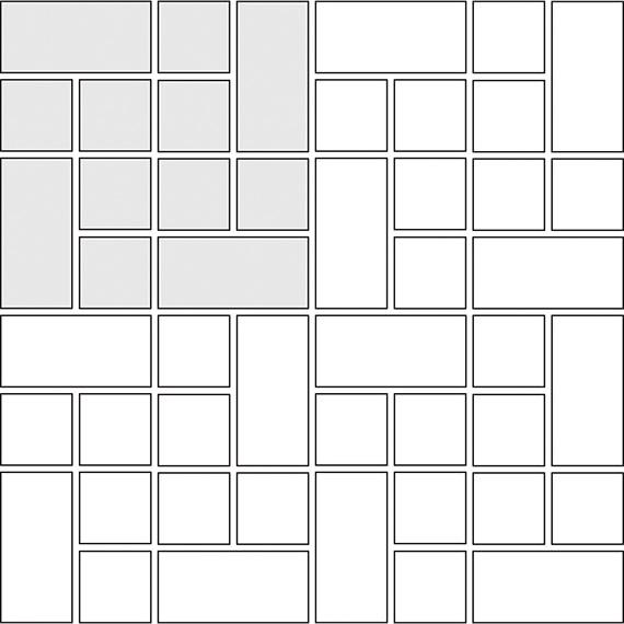 Pinwheel tile pattern guide for two tile sizes