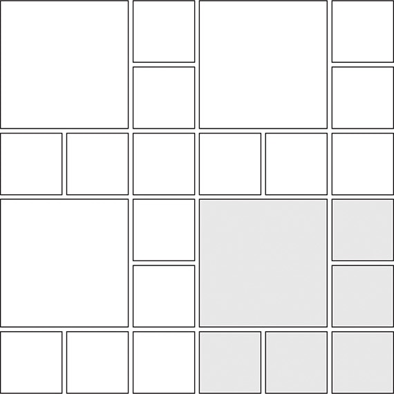 Stepping stone tile pattern guide for two tile sizes