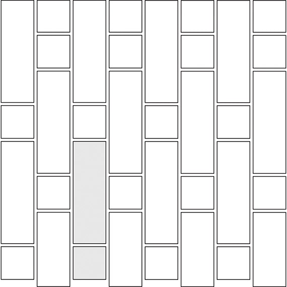 Tic Tac tile pattern guide for two tile sizes