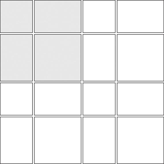 Block trellis tile pattern guide for three tile sizes
