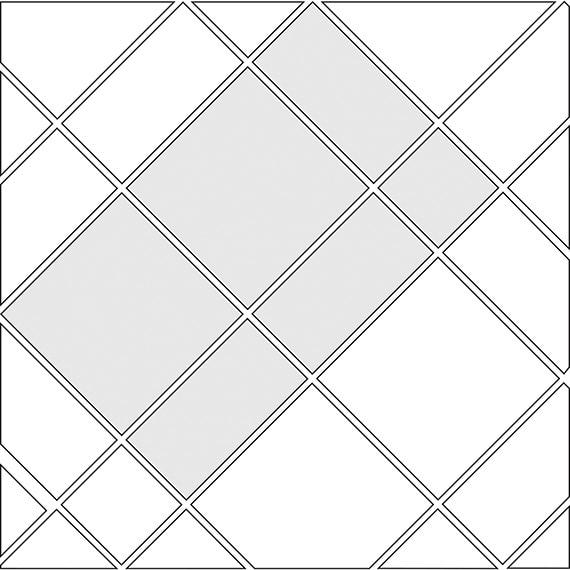 Diamond corridor tile pattern guide for three tile sizes
