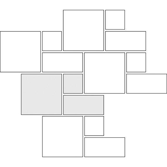 Plain weave tile pattern guide for three tile sizes