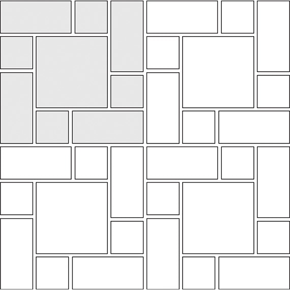 Soldiered tile pattern guide for three tile sizes