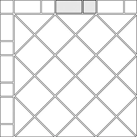 Alternating border tile pattern for two tile sizes