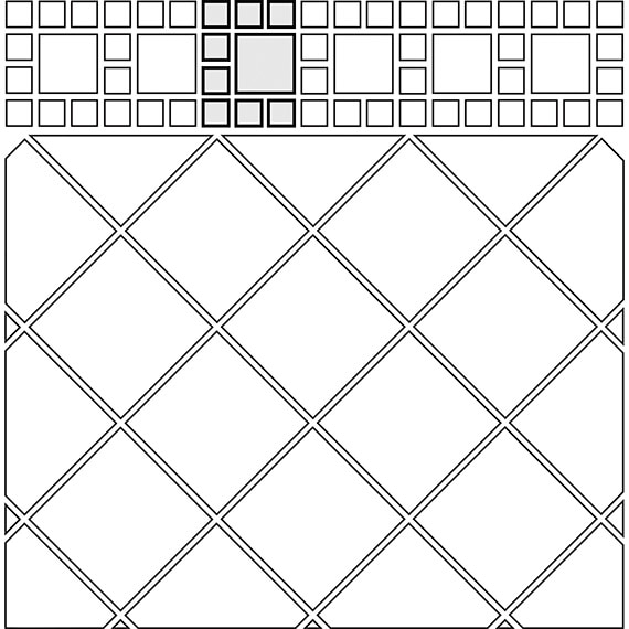 Border inset tile pattern guide for two tile sizes