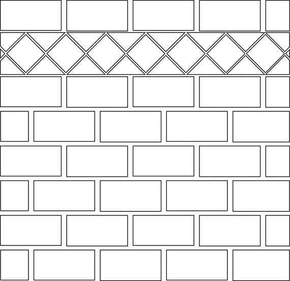 Brick joint with diamond border tile pattern guide