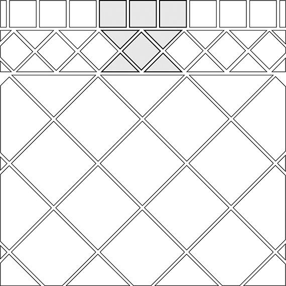 Diamond border tile pattern guide for two tile sizes