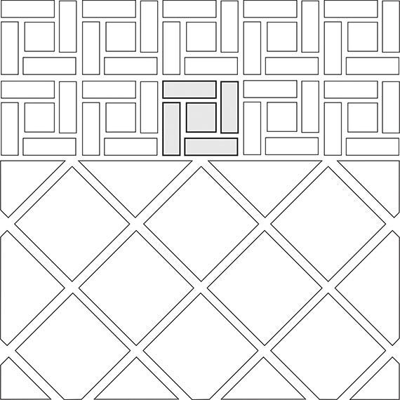 Pinwheel border tile pattern guide