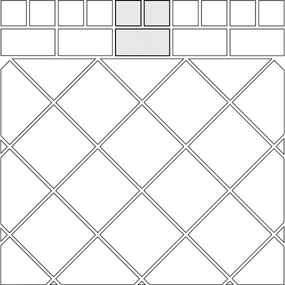 T-cross border tile pattern guide for two tile sizes