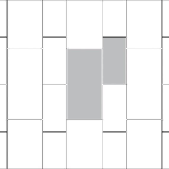 Corridor tile pattern guide for two tile sizes