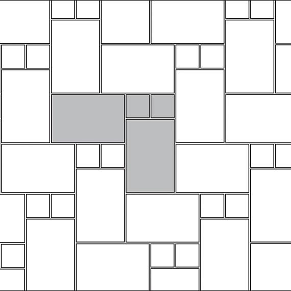 Inserted herringbone tile pattern guide for two tile sizes