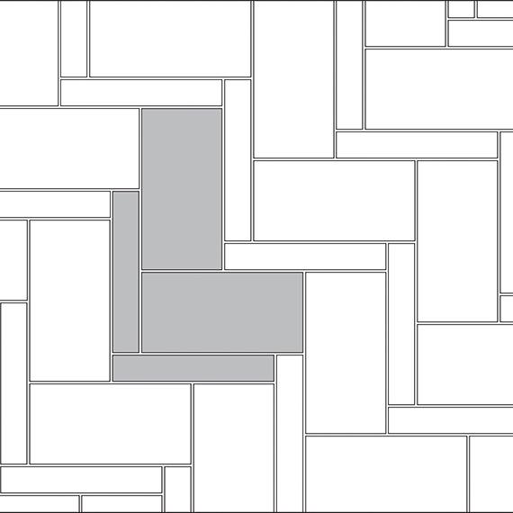 Herringbone tile pattern guide for two tile sizes