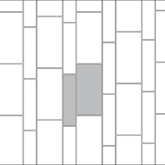 Staggered corridor tile pattern guide for two tile sizes