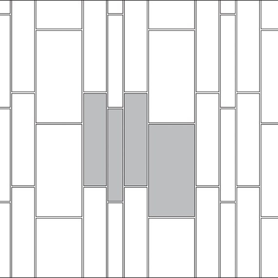 Staggered vertical brick-joint tile pattern guide for three tile sizes