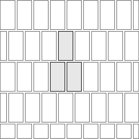 Vertical brick pattern guide for rectangular tile