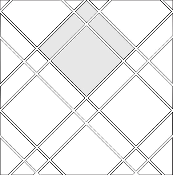 Checkered diamond tile pattern guide for three tile sizes