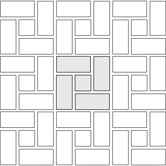 Windmill tile pattern guide for two tile sizes