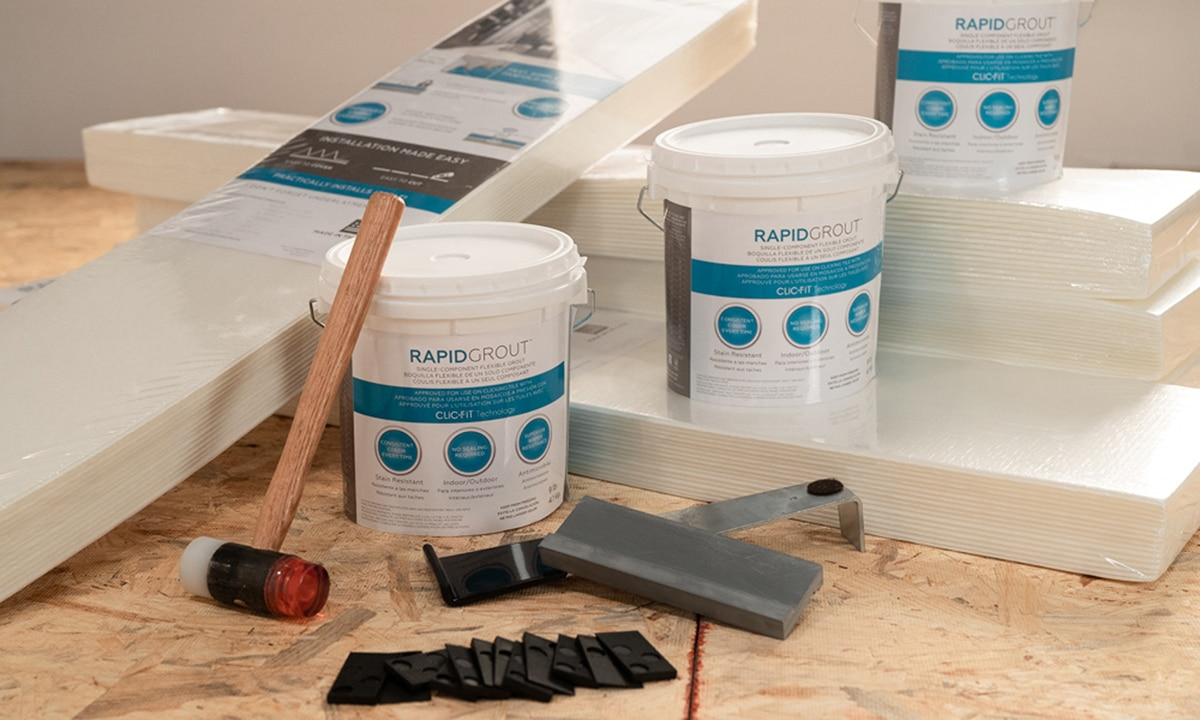 RevoTile Accessories. ClicFit Install Kit with RapidGrout, RapidPrep, and mallet (not included)