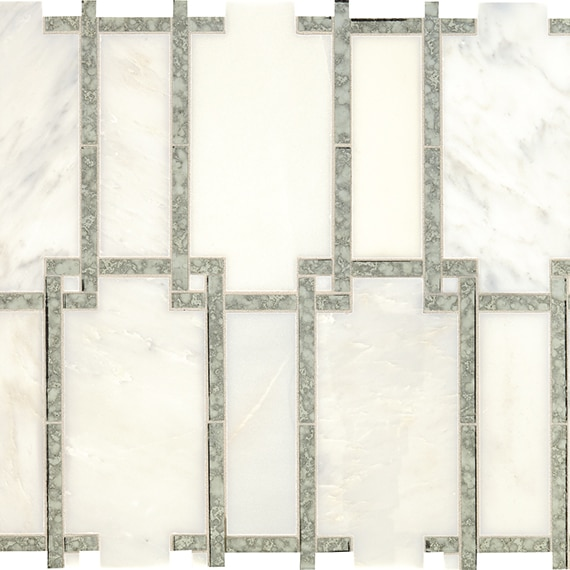 Daltile Mosaic Lavaliere in First Snow/Antique Mirror LV10