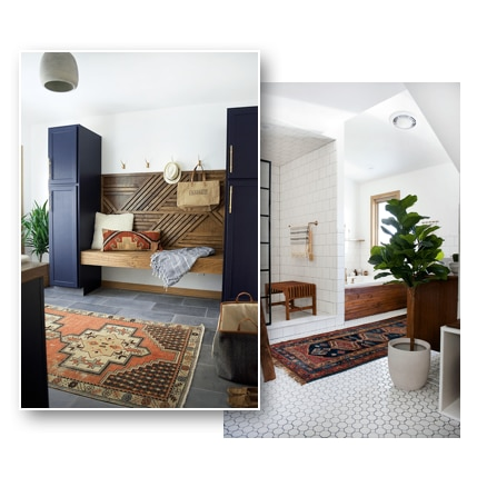 A collage of two finished rooms, a command center with cement look tile and a bathroom with white tile