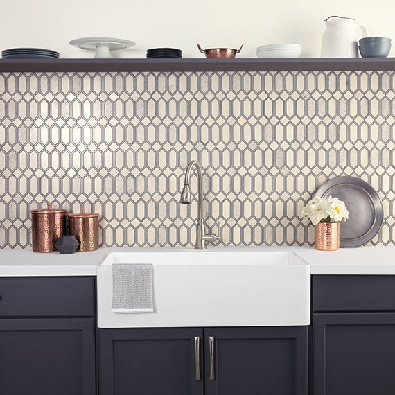 Kitchen close up with feature wall backsplash with picket shape mosaid