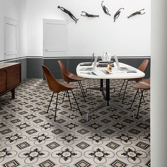 Modern style dining room with contemporary furnishings and encaustic terrazzo tile on the floor